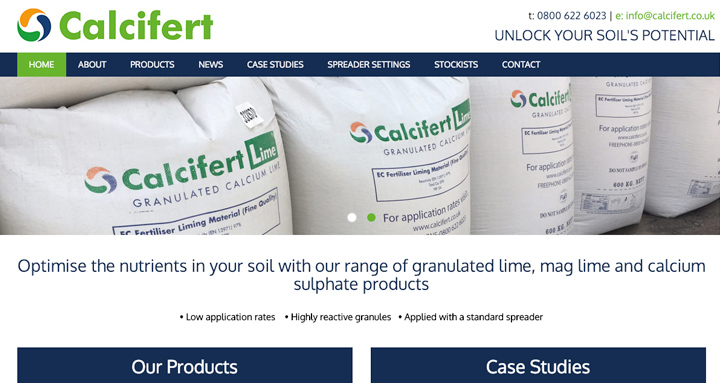 An image of the Calcifert website
